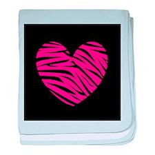 Hot Pink and Black Zebra Heart baby blanket