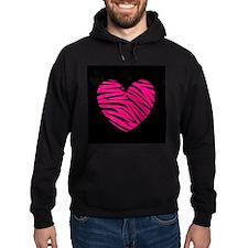Hot Pink and Black Zebra Heart Hoodie