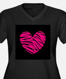 Hot Pink and Black Zebra Heart Plus Size T-Shirt
