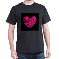Hot Pink and Black Zebra Heart T-Shirt