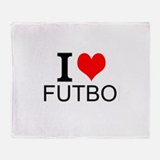I Love Futbol Throw Blanket