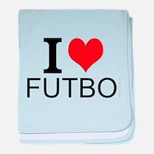 I Love Futbol baby blanket