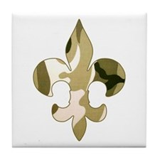 Fleur de lis Camo Tile Coaster