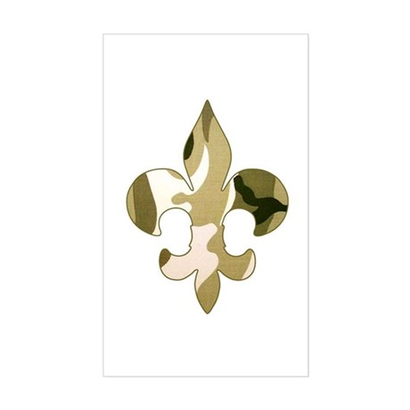 Fleur de lis Camo Rectangle Sticker