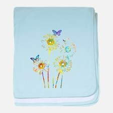 Flowers and butterflies baby blanket