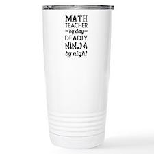 math teacher day ninja night-black Travel Mug