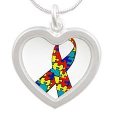 Puzzle Awareness Ribbon Necklaces