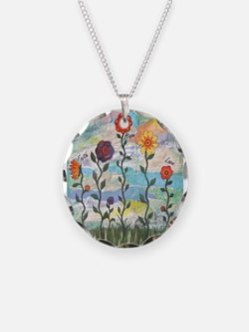 Faith, Hope, Love Flowers Necklace