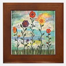 Faith, Hope, Love Flowers Framed Tile