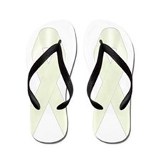 White Awareness Ribbon Flip Flops