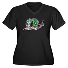 Polygon Mosaic Snail Purple Green Plus Size T-Shir