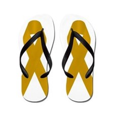 Gold Awareness Ribbon Flip Flops