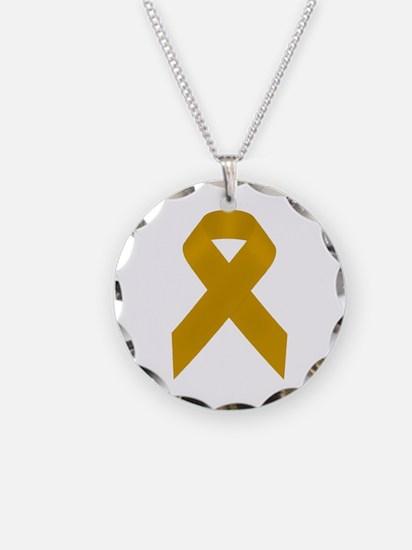 Gold Awareness Ribbon Necklace
