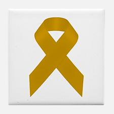 Gold Awareness Ribbon Tile Coaster