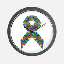 Puzzle (Autism) Awareness Ribbon Wall Clock