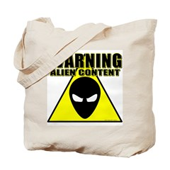 Warning Alien Content Tote Bag