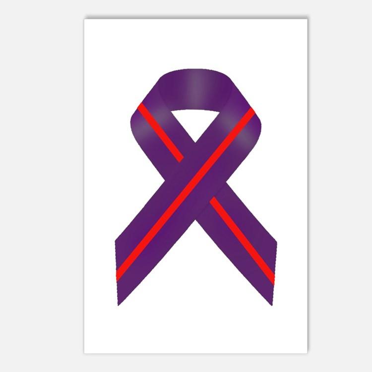 Purple With Red Stripe Aw Postcards (Package of 8)