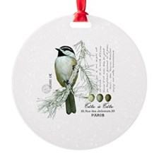 modern vintage winter woodland chickadee Ornament