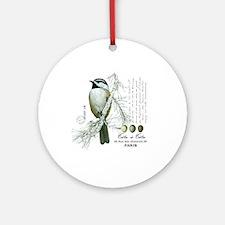 modern vintage winter woodland chickadee Ornament