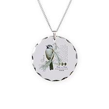 modern vintage winter woodland chickadee Necklace