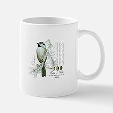 modern vintage winter woodland chickadee Mugs