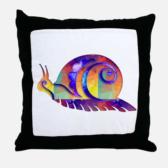 Polygon Mosaic Snail Multicolored Throw Pillow