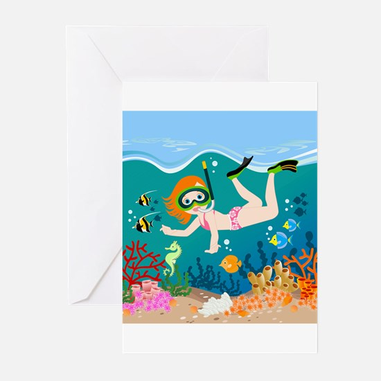 Girl swimming in tropical sea Greeting Cards