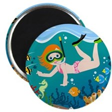 Girl swimming in tropical sea Magnets