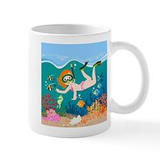 Girl swimming in tropical sea Mugs
