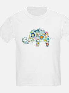 Colorful Retro Flowers Elephant Shape T-Shirt