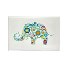 Colorful Retro Flowers Elephant S Magnets