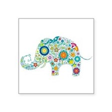 Colorful Retro Flowers Elephan Sticker