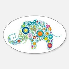 Colorful Retro Flowers Elephan Decal