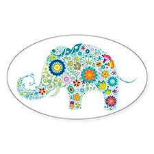 Colorful Retro Flowers Elephan Stickers
