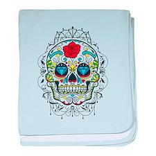 Cute Sugar skull roses baby blanket