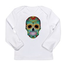 Colorful Retro Flowers Sugar Skul Long Sleeve T-Sh