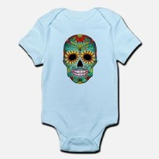 Colorful Retro Flowers Sugar Skull Body Suit