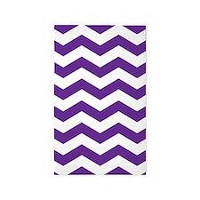 Purple And White Chevron 3'x5' Area Rug
