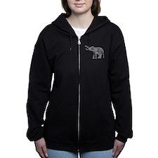 Unique Elephants vintage Women's Zip Hoodie
