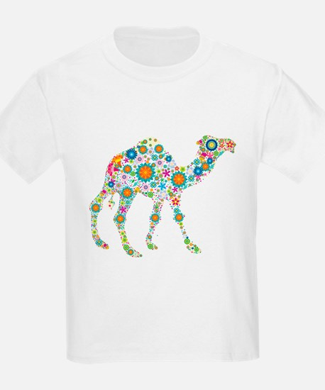 Colorful Retro Flowers Camel T-Shirt