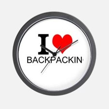 I Love Backpacking Wall Clock