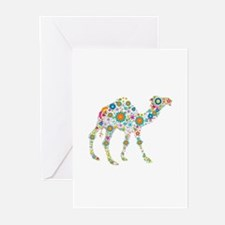 Colorful Retro Flowers Camel Greeting Cards