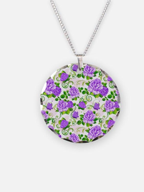 Cute Purple rose Necklace