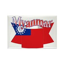 Myanmar flag ribbon Rectangle Magnet