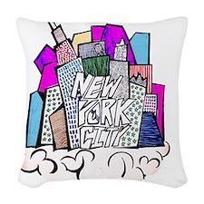 nyc bish  Woven Throw Pillow