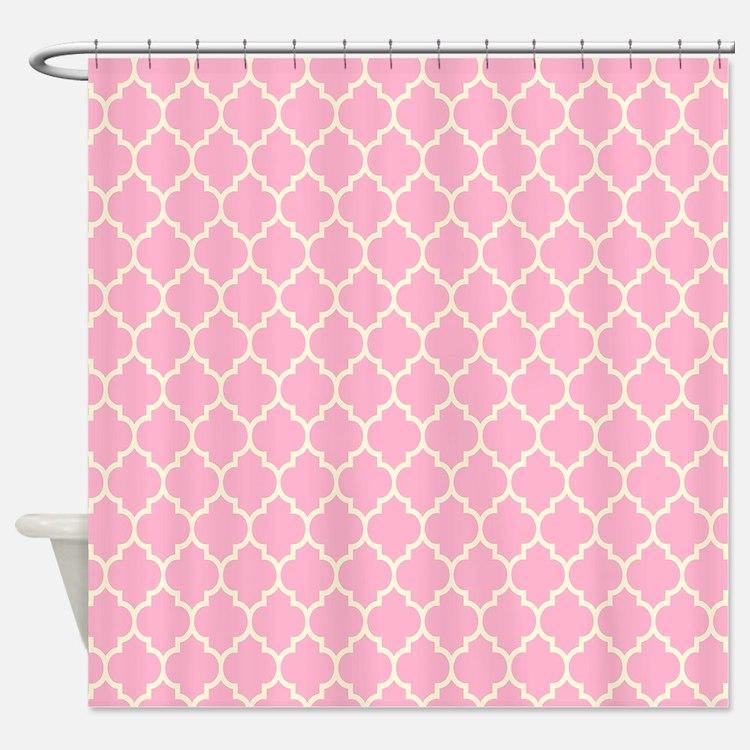 Light pink shower curtains light pink fabric shower for Light pink shower curtain