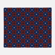 Red and Navy Retro Style Pattern Throw Blanket