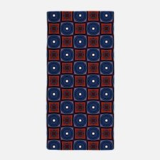 Red and Navy Retro Style Pattern Beach Towel