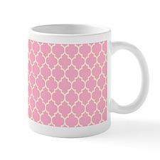 Pink And Cream Quatrefoil Geometric Pattern Mugs