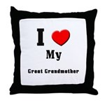 I Love Great Grandmother Throw Pillow